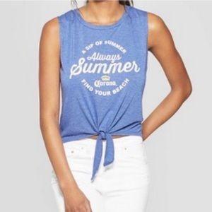 Corona Blue Tie Front Crop Top - A Sip of Summer